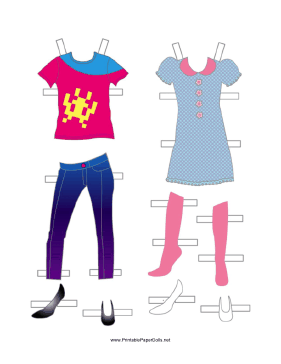 Girl Paper Doll Outfits with Jeans and Dress paper doll
