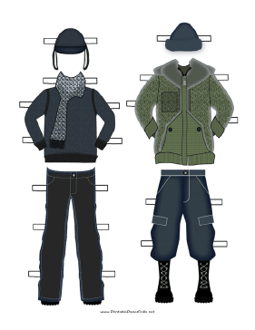 Paper Doll Winter Outfits in Green and Black paper doll
