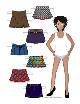 Paper Doll with Assorted Skirts paper doll