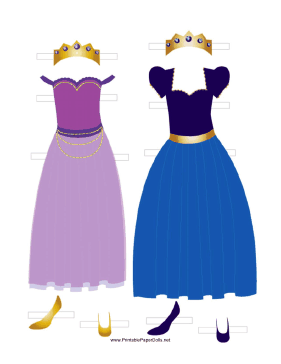 Princess Paper Doll Outfits in Blue and Lavender paper doll