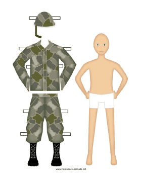 Male Soldier Paper Doll paper doll