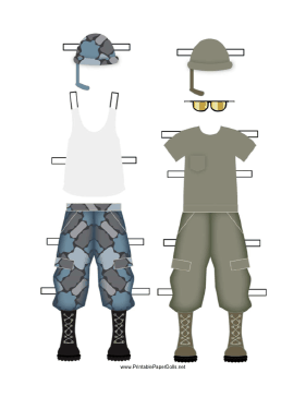 Male Soldier Paper Doll Uniforms paper doll