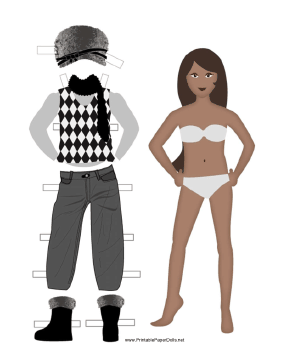 Female Paper Doll with Winter Clothes paper doll
