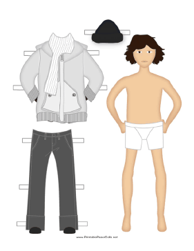 Male Paper Doll with Winter Clothes paper doll