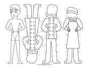 Male Chef with Apron Paper Doll to Color paper doll